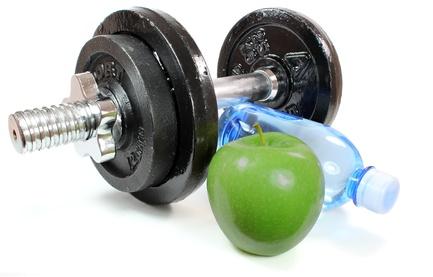 Hantel und Apfel